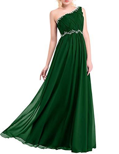 Bess Mariée Une Épaule Femmes Longue Soirée De Bal En Mousseline De Soie Perles Robe Vert Foncé