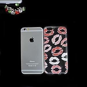 ZMY patrón de labios rojo caso delgada cubierta de TPU transparente con el tapón a prueba de polvo para el iphone 6