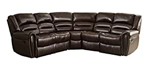 Homelegance 3 Piece Bonded Leather Sectional Reclining Nail Head Accent Sofa, Brown