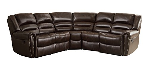Homelegance 3 Piece Bonded Leather Sectional Reclining Nail Head Accent Sofa, Brown (Brown Reclining Sectional)