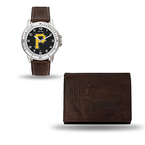 (Rico Industries MLB Pittsburgh Pirates Men's Watch and Wallet Set, Brown, 7.5 x 4.25 x 2.75-Inch )