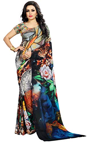 Print Saree - Women's Faux Georgette Digital Print Saree 6.30 m With Blouse Piece (Free Size, Dark Blue)