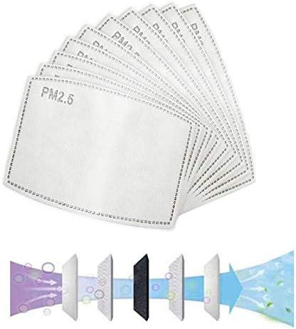 100PCS PM2.5, filtro de carbón activado protector reemplazable de 5 capas, antivaho, antibacteriano, antivaho, a prueba de polvo, papel de filtro externo, filtro de máscara