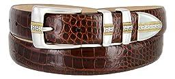 Milan Italian Calfskin Leather Men\'s Designer Belt (36, Alligator Brown)