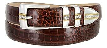 Milan Italian Calfskin Leather Men's Designer Belt (46, Alligator Brown)