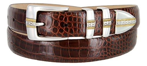 (Milan Italian Calfskin Leather Men's Designer Belt (34, Alligator Brown))
