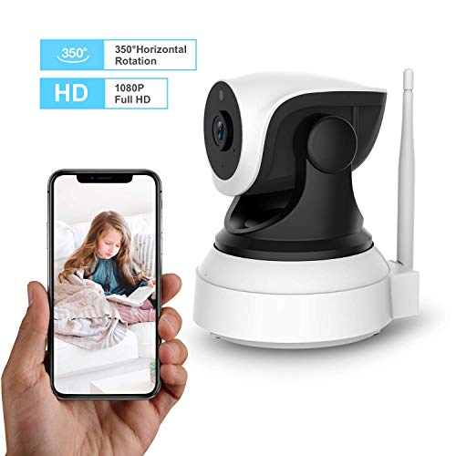 (Home Security Camera, Wonbo Wireless IP Camera 350° Rotating 720P Surveillance System with Night Vision, Two-Way Audio, Remote Monitor, MicroSD Slot, 2.4G WiFi Dome Camera for Baby/Elder/Pet/Nanny)