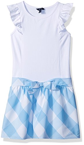 Nautica Girls' Big Patterned Sleeveless Dress, Blue Gingham/White, Large (12/14)