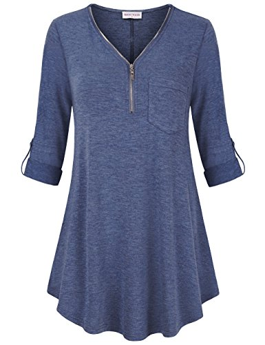 Metallic Spandex Tunic (MOOSUNGEEK Loose Fitting Tunic For Women,V Neck 3/4 Sleeve Fitted Flowy Blouse Royal Blue XL)