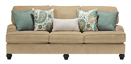 Benchcraft – Lochian Casual Sofa – Five Throw Pillows Included – Bisque Beige For Sale