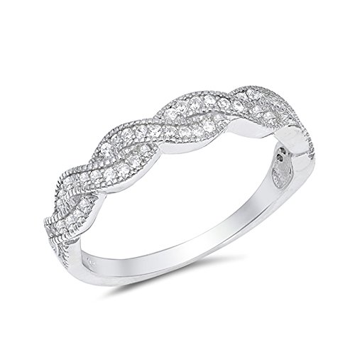 Half Eternity Twisted Wedding Band Ring Round Cubic Zirconia 925 Sterling Silver (Band Pave Twisted)