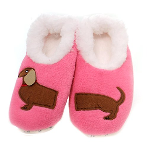 Snoozies Womens Classic Splitz Applique Slipper Socks - Dachshund, Medium