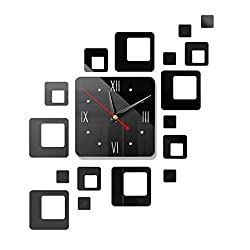 Combclub 3D Square Frameless Wall Clock Numbers Stickers DIY Wall Decoration for Living Room Bedroom Home Office Decorations Gift (Black)