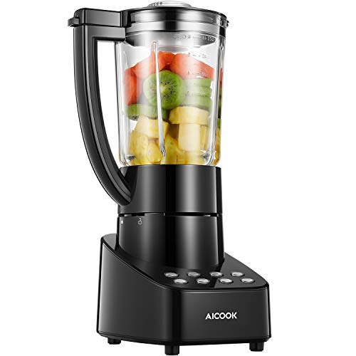 Blender Smoothie Blender 48oz Glass Jar Countertop Blender with Smart Speed Control, Stainless Steel Blade, Pulse Ice Crush Frozen Drinks Function Blender for Shakes and Smoothies, 700 W, Aicook