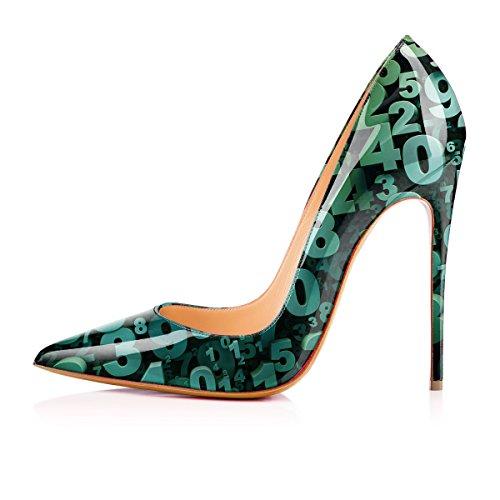 Donne Verde Ycg Digitali Scarpe Mucca Degli Modello Slittamento Alti Pompe Talloni Sulle Delle Stampa SBqRnaw