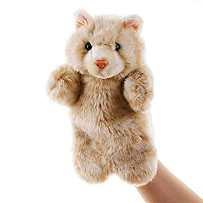 shlutesoy Lovely Cats Animal Doll Plush Soft Hand Puppet Role Play Interactive Kids Toy Education Toy Pillow Grey Cat#: Home & Kitchen
