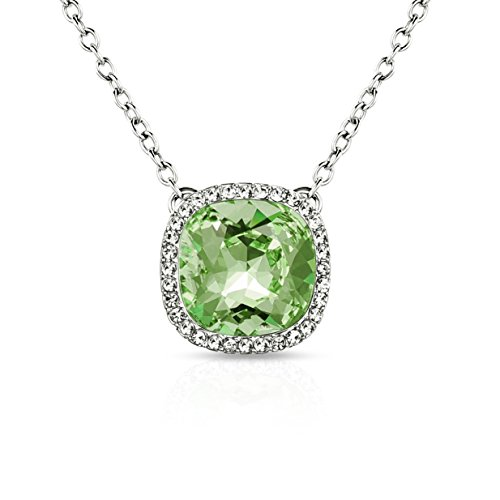 Alantyer Necklace, ♥Best Wishes♥ Birthstone Necklace Made with Swarovski Square Crystal Birthstone Pendant Necklace Birthday Valentines Mothers Day Jewelry Gift for Women and Girls