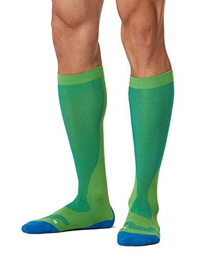 8aca64e699 2XU Men's Compression Run Socks (Gecko Glow/Cobalt Blue, Medium)