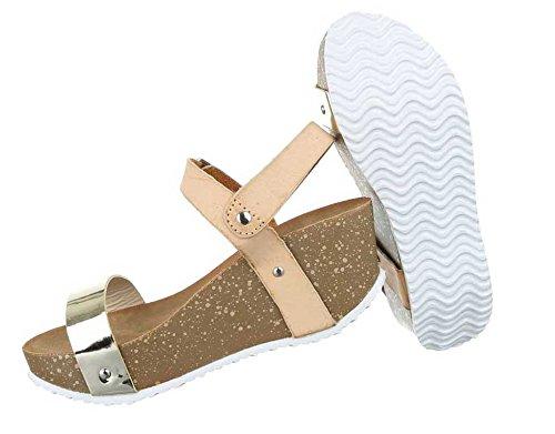 Damen Sandaletten Schuhe Keil Wedges Beige
