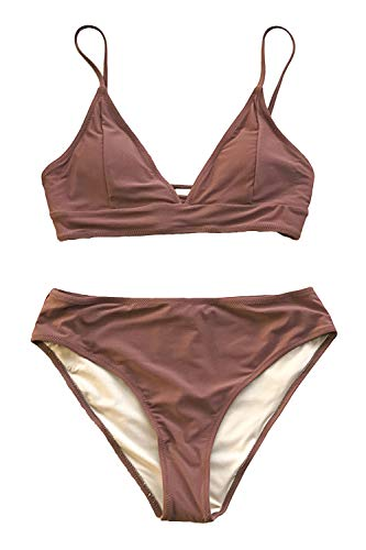 CUPSHE Women's Cosy Bay Lace Up Back Adjustable Two Piece Bikini Sets, S Rustic Brown (Bottom Brown Bikini)