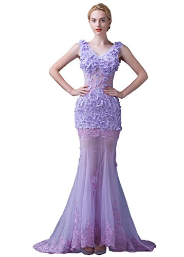 Beauty Ärmelloses Abend V Applikationen Tailing Violett Band Meerjungfrau Emily Ausschnitt Sweep Kleid Orrwtq17