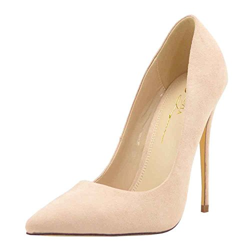 Olivia Jaymes Women's Dress Pump | Pointy Toe Curved Vamp | Slimmed-Down Stiletto Thin Heel Slip-on Pumps (7, Nude) (Heel Curved)