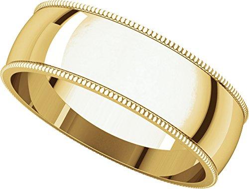 - Mens 10K Yellow Gold, Light Milgrain Wedding Band 6MM (sz 15.5)