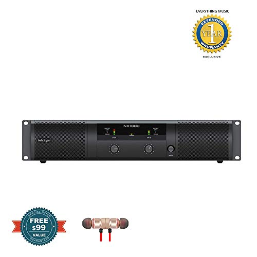 Behringer NX1000 Ultra Lightweight Class D 1000W Power Amplifier includes Free Wireless Earbuds - Stereo Bluetooth In-ear and 1 Year EverythingMusc Extended Warranty
