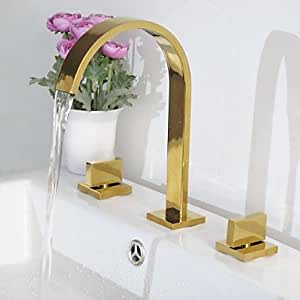Contemporary Ti-PVD Three Holes Two Handles Waterfall Bathroom Sink Faucet