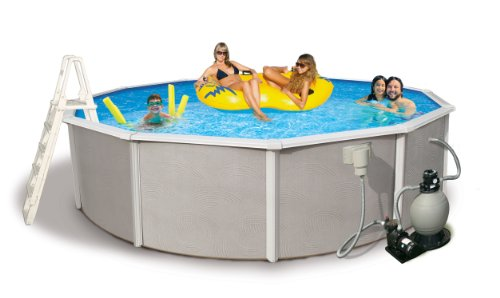 Blue Wave Belize 24-Feet Round  52-Inch Deep 6-Inch Top Rail Metal Wall Swimming Pool Package