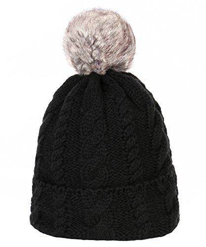 RufnTop Women Winter Pom Pom Beanie Hat With Warm Fleece Lined, Thick Slouchy Snow Knie Skull Ski Cap(Pom Black One Size)
