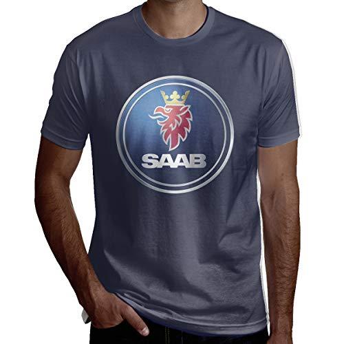 SHENGN Men General Motors Saab Logo O-Neck T Shirt Navy L