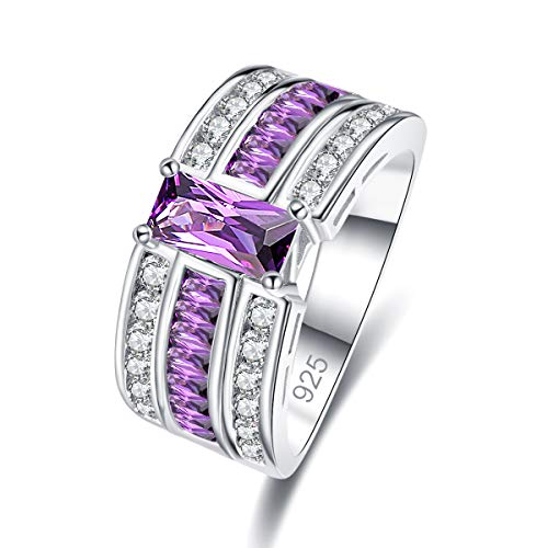 Psiroy 925 Sterling Silver Created Amethyst Filled Wide Band Ring for Women Size 6