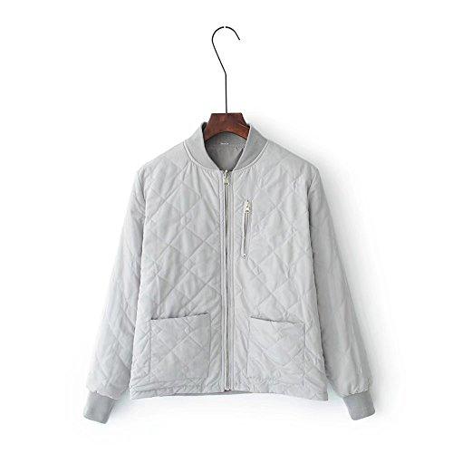 Lsm-Jacket Women's Regular Short Down Jacket Thickened Loose Cotton Coat Grey