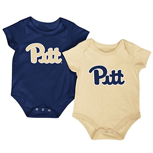 Colosseum NCAA Short Sleeve Bodysuit 2-Pack-Newborn and Infant Sizes-Pittsburgh Panthers-0-3 Months