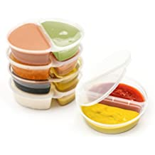 Two-Compartment Condiment Containers w/ Attached Lid (50-Pack, 3.5 oz.) Bento   Portion Cups   Stackable, Reusable Snack Boxes   Individual Use for Work, School, Home, Travel