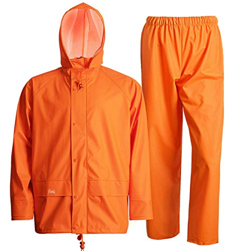 Navis Marine Rain Suit for Men Heavy Duty Workwear Waterproof Jacket with Pants 3 Pieces (Large, Flame) ()