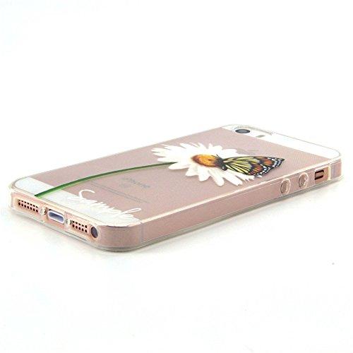 Voguecase® für Apple iPhone 5 5G 5S hülle, Schutzhülle / Case / Cover / Hülle / TPU Gel Skin (Kleine Gänseblümchen 07) + Gratis Universal Eingabestift