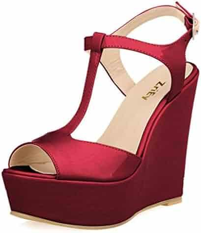c968ae36bebb ZriEy Women Gorgeous Sexy Peep Toe High Heels Platform Wedge Sandals