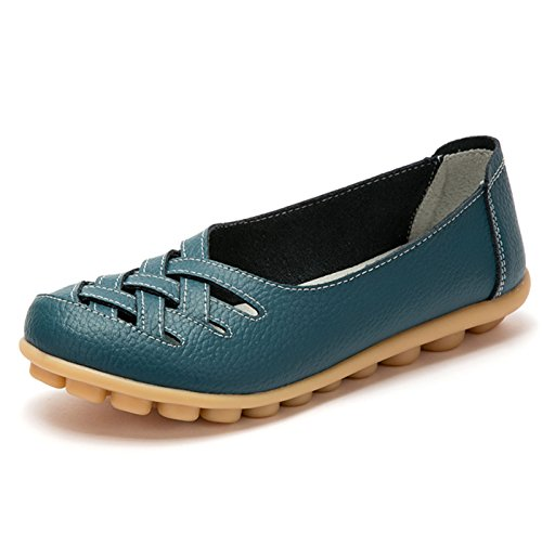 Zapatilla Azul Cuero Mujer de Baja QFISH RTx414