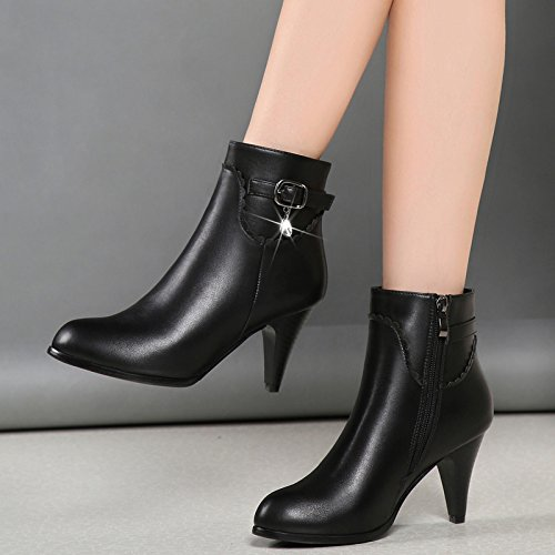 Heeled Shoes Boots With Cashmere Winter Female Boots High Fine Small And Plus Boots KHSKX Black The Boots Short And New pnqXY7