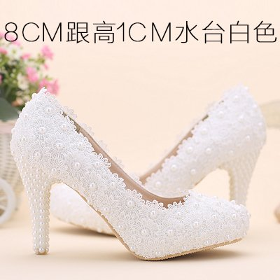 Wedding 5 Women'S Shoes 8Cm Heel Pearl Waterproof Shoes Sandals White Heeled High Lace Red Color Shoes Round 5 Flowers Pink VIVIOO Bridal Toe Prom UE4nqU7B
