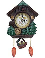 Wall Cuckoo Clocks Forest Tree Design Wooden Cuckoo Clock Hand-Carved Cuckoo Clock, Bright Cuckoo Bird Sounds On The Hour and Chime, Excellent Gift