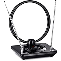 ViewTV AR-886AW Standing Rabbit Ears HD Amplified Digital Indoor TV Antenna - Adjustable Gain - 70 Miles Range - Black
