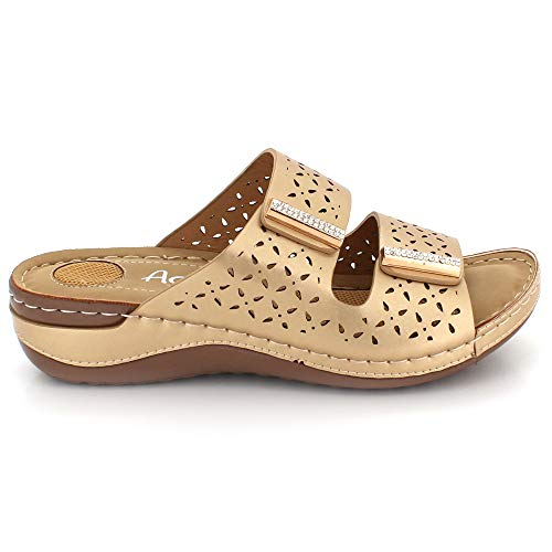 Día Sandalias Abierta Verano Tamaño Cuña Casual Comodidad Ponerse Señoras Oro Punta Mujer De Zapatos Ligero Tacón Cada BOEwxRZIcq