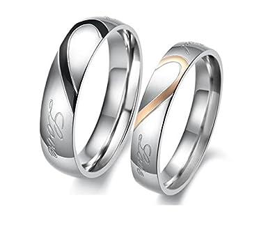 GirlZ cute Titanium Couple matching Love Circle Shiny Wedding Rings