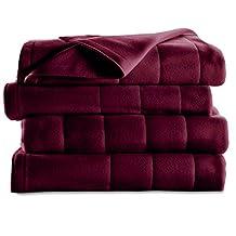 Sunbeam King Quilted Fleece Heated Blanket, Garnet