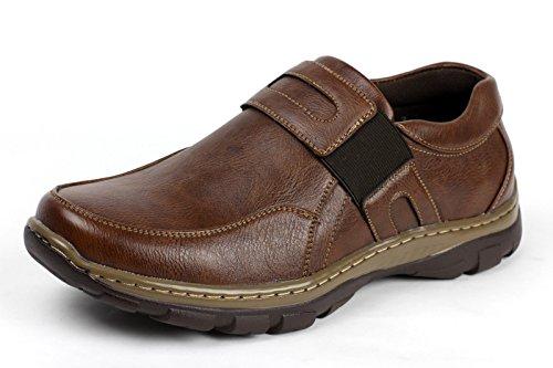 JAS Hombre Sin Cierres Informal Clásico Zapatos de Trabajo Elegante Oficina Cómodo Mocasines Marrón