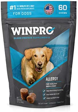 WINPRO All-Natural Allergy Relief Soft Chews for Dogs with Itchy, Scratchy Skin | Blood Protein Supplement for Healthy Skin and Coat, Made in USA, Grain Free, Member of NASC 2