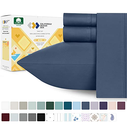 California Design Den 400 Thread Count 100% Cotton Sheet Set, Indigo Batik Twin Sheets 3 Piece Set, Long-Staple Combed Pure Natural Cotton Bedsheets, Soft & Silky Sateen Weave
